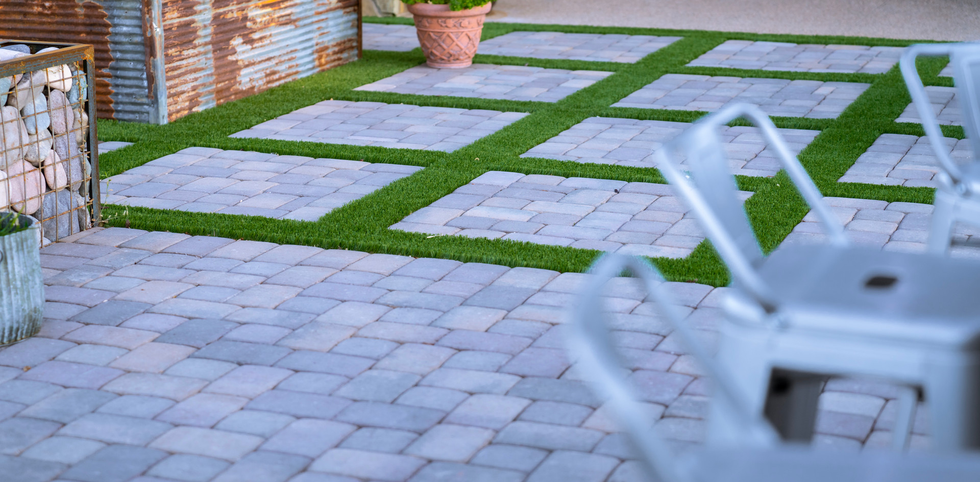 Pavers and synthetic grass