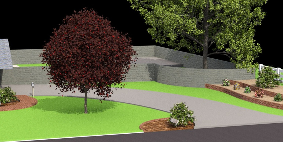 Trees and Terraced Flower Bed