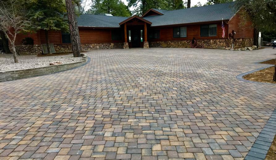 Large paver driveway