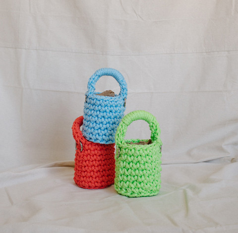 Baby Bucket in Coral, Sky, Chartreuse