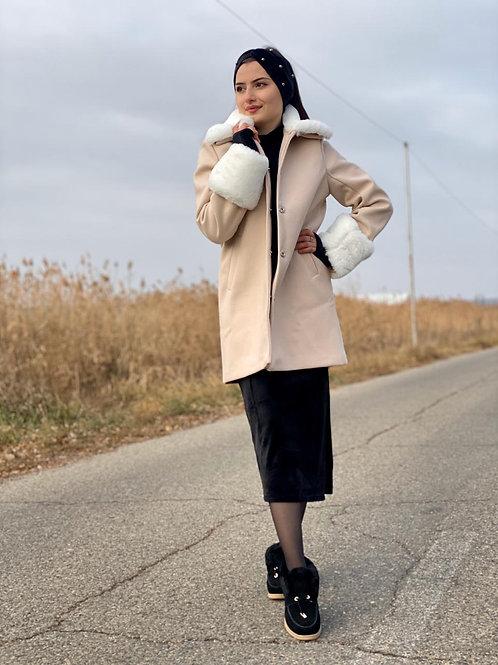 Fur Collar and Sleeve Long Coat