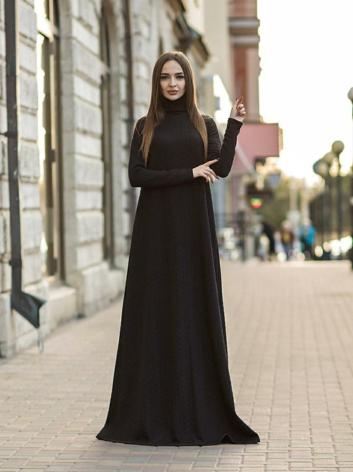 Knitted Maxi Dress With Thumbed Sleeve