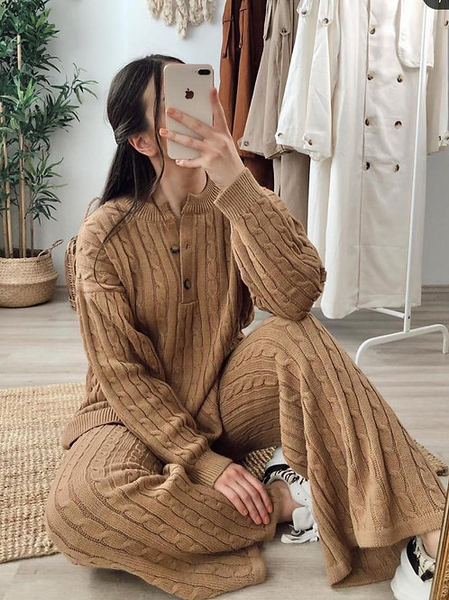2 Piece Cable Knitted Top and Bottom