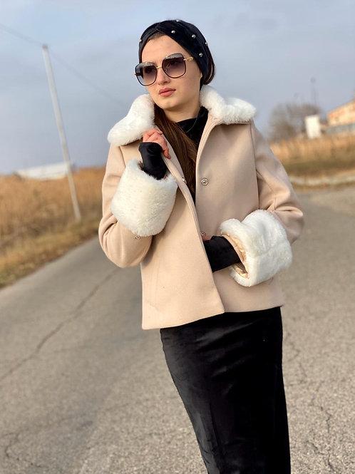 Fur Collar and Sleeve short Coat