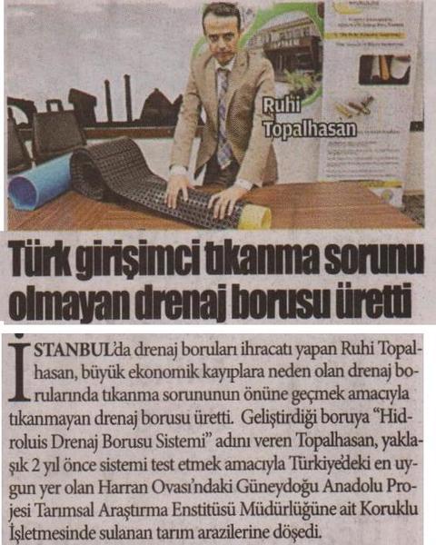 Türk Girişimci Dünyada ilk Tıkanmayan drenaj borusu üretti.