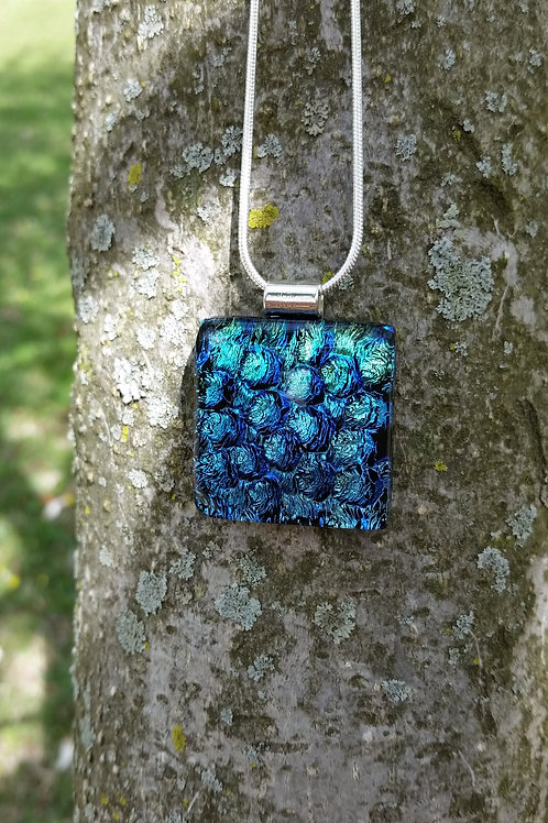 Coral, Gold, Green and Blue Dichroic Fused Glass Necklace Pendant