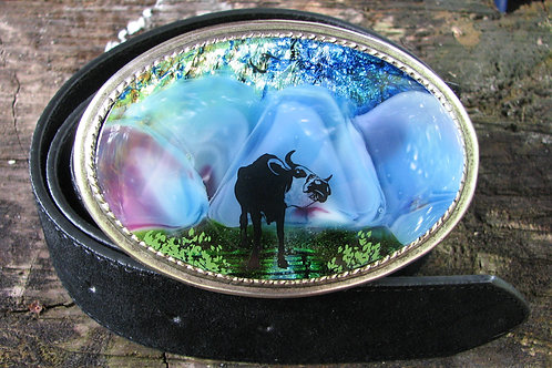 Oval Longhorn Steer Fused Glass Belt Buckle