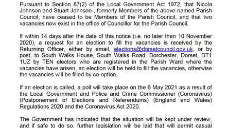 2 Vacancies on Parish Council