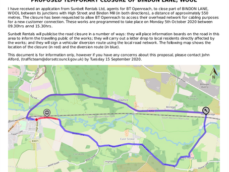 Consultation on temporary closure of Bindon Lane