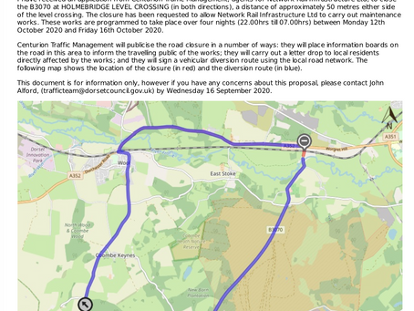 Consultation on temporary closure of B3070 at Holmebridge Level Crossing