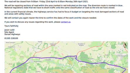 Closure of the Woolbridge roundabout between 23rd April and 26th April 2021