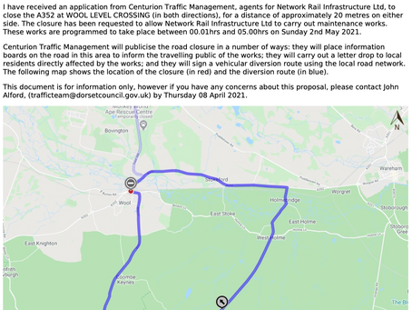 Proposed closure of Wool level crossing 00:01 to 05:00am on Sunday 2nd May...