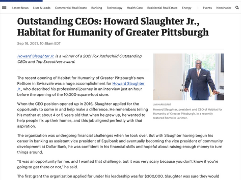 """""""[Dr. Slaughter] is a winner of the 2021 Fox Rothschild Outstanding CEOs and Top Executives award."""""""