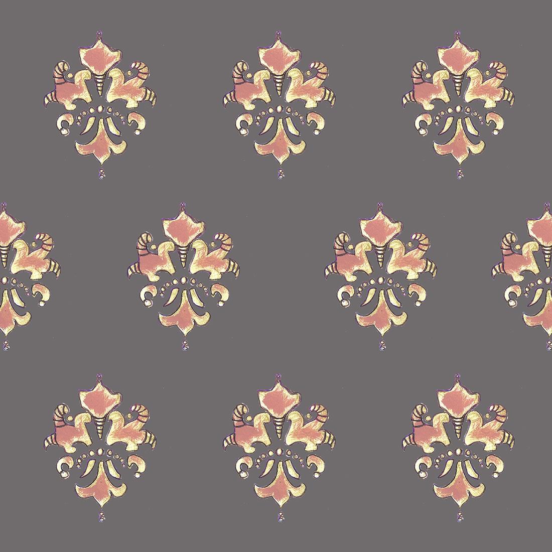Fleur De Lis - Coral/Gold/Grey