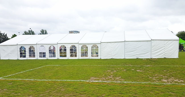 Exhibition Marquee in Stepney Green Park, London.