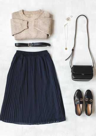 Blue midi pleated skirt, beige knitted s