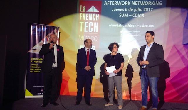 De gauche à droite: David Mancilla (French Tech Mexico), Gabriel Poloniecki (Ambassade de France à Mexico), Véronique Deborde (Fondation Mines Télécom), Mario Romero (SUM)©Masiosarey, 2017