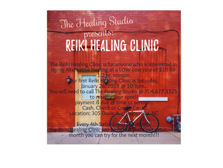 The Healing Studio-byTina presents the Reiki Healing Clinic coming to Statesville community!!! Satur