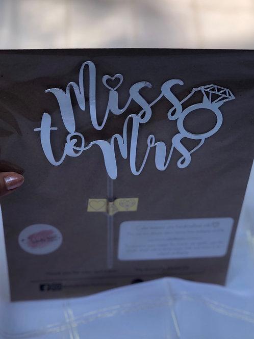 Custom Miss to Mrs Cake Topper
