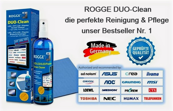 ROGGE DUO-Clean Original, 250ml Screen Cleaner inkl. 1 Prof. Microfasertuch