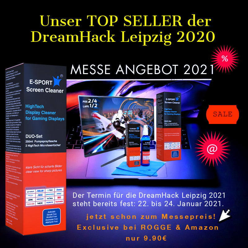 E-SPORT Screen Cleaner for GAMING DISPLAYS 250ml inkl. 2 Prof. Microfasertücher