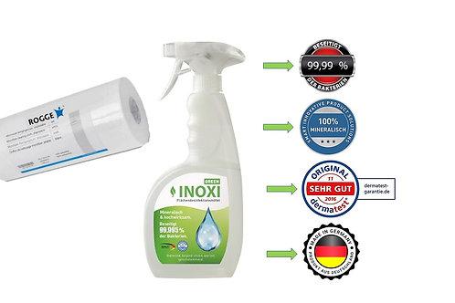 INOXI GREEN 750ml Sprüh-FLächendesinfektion inkl. 170 x Microfasertücher