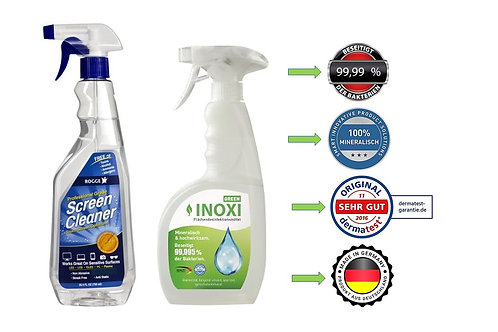 INOXI GREEN 750ml Sprüh-FLächendesinfektion+ ROGGE 750ml Screen Cleaner