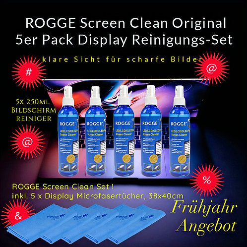 ROGGE 5er Pack LCD-TFT-LED-OLED Screen Cleaner -inkl. 5x Microfasertücher