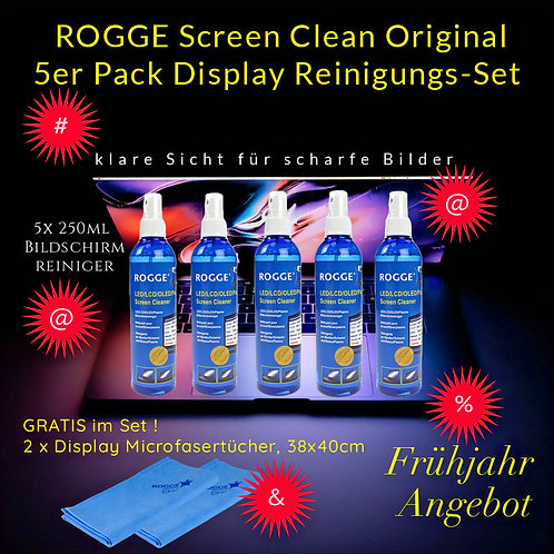 ROGGE 5er Pack LCD-TFT-LED-OLED Screen Cleaner -inkl. 2 Microfasertücher Gratis!