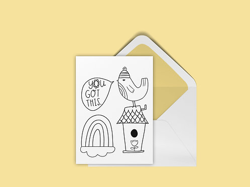 FREE UColor Birdhouse Card