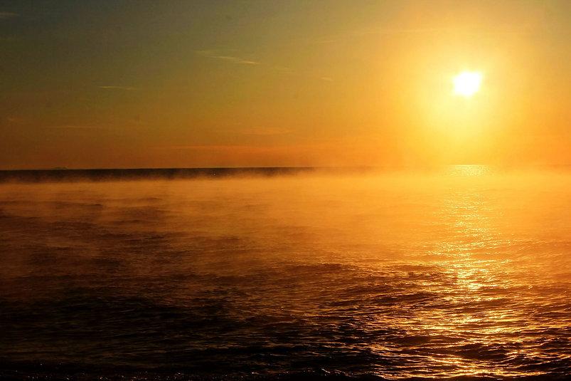 Mist Lake Superior Sunset