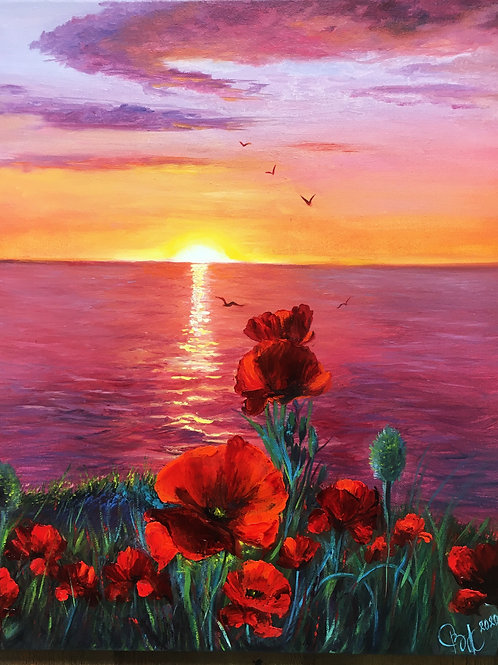 Sunset with poppies 40 x 50 cm