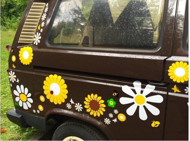 hippy camper van westfalia VW flower peace love stickers