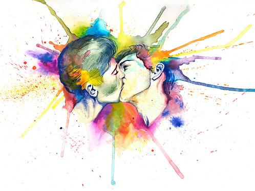 The kiss. Gay pride male portraits