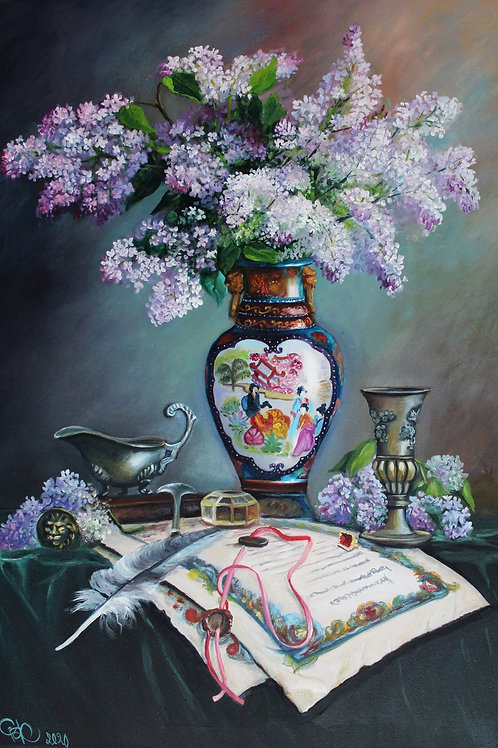 Lilac in Chinese vase 50 x 70 cm