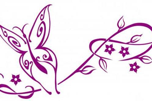 Tribal Mariposa con vid y flores