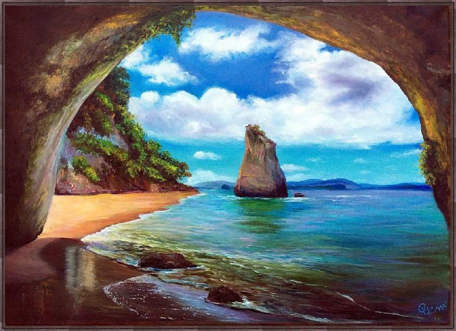 Seascape with a view from cave
