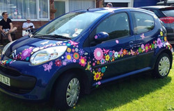 Hippy motors funky happy car stickers cool flower decals