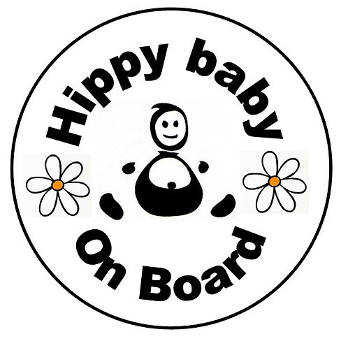 Bebé a bordo hippie. Hippy Baby on board