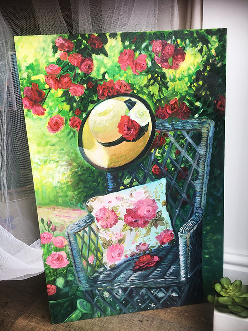 Garden with roses 40 x 60 cm