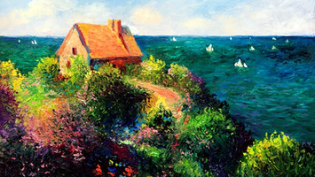 Seascape with Fisherman's house by Claude Monet