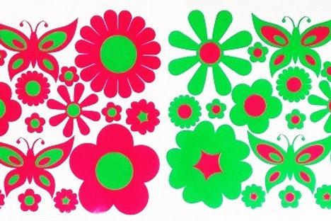Flores funky con mariposas 2 folios