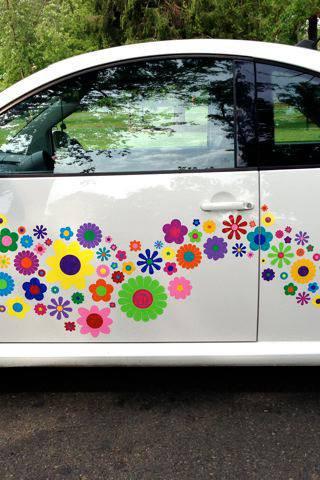 hippy motors flower power vinyl VW stick