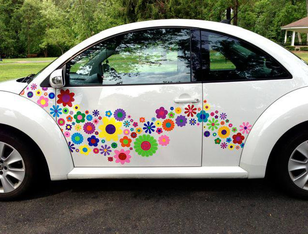 hippy motors flower power vinyl VW stick