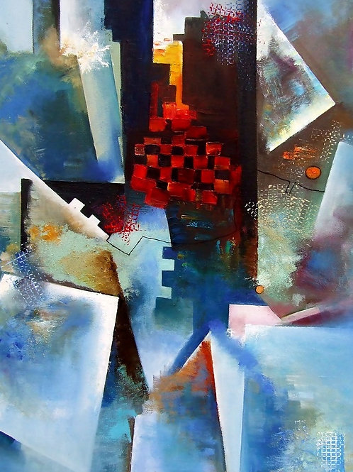 Abstract in Red-Blue-Black 55 x 75 cm