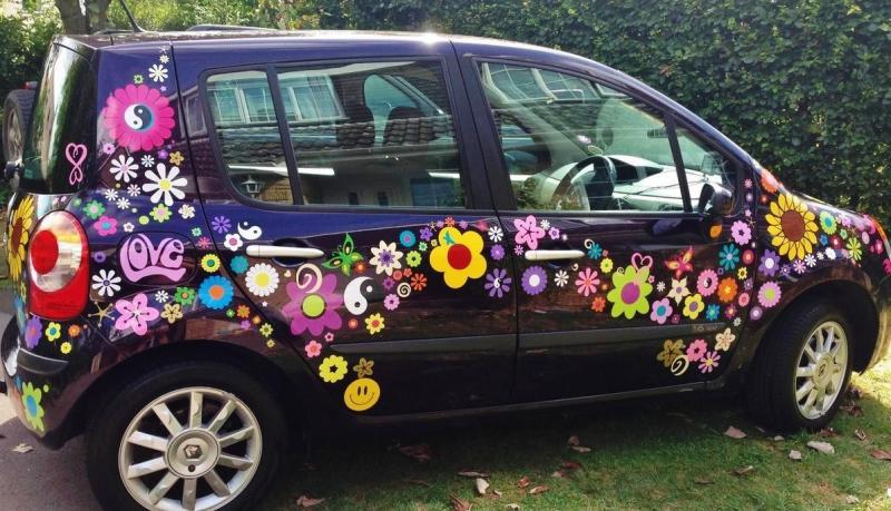 hippy motors fab cool car stickers VW camper van flower decals