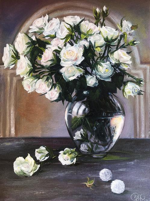 White roses with Raffaello 30 x 40 cm