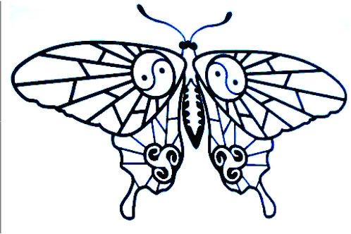 Gran mariposa con Yin-Yang 1 color