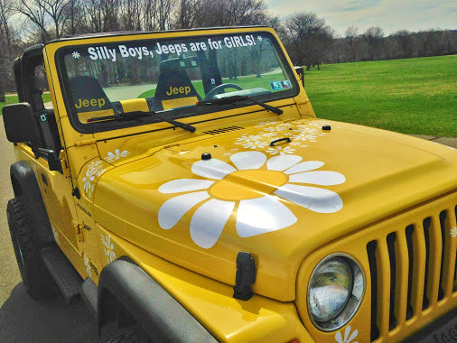 hippy motors daisy flower jeep stickers