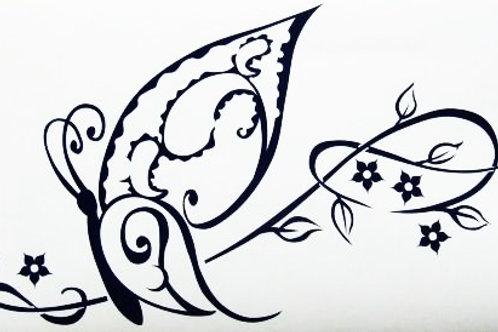Tribal Mariposa con flores
